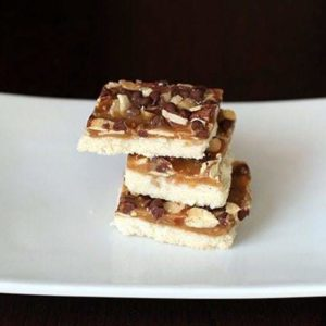 crunchy toffee bars - shortbread base with toffee, chocolate chips and almonds baked on top