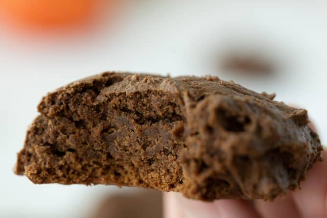 close up piece of Double Chocolate Chip Pumpkin Cookie showing the inside