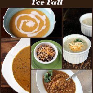 collage of five easy soups for fall