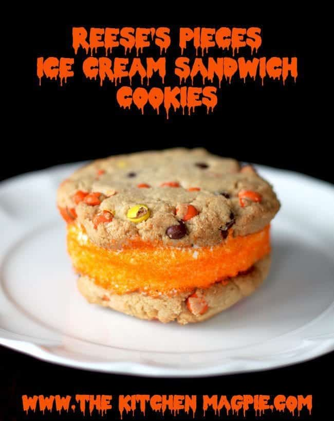 Reese's Pieces Halloween Ice Cream Sandwich Cookies, easy, delicious and super cute for Halloween! #cookies #peanutbutter #halloween