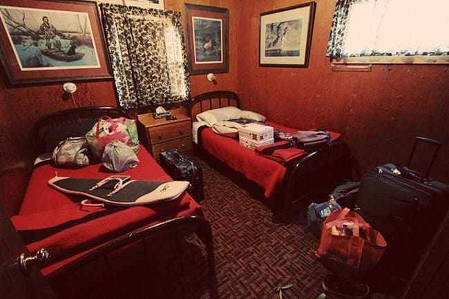 inside a room at Jimmy Robinson's Duck Lodge with two beds