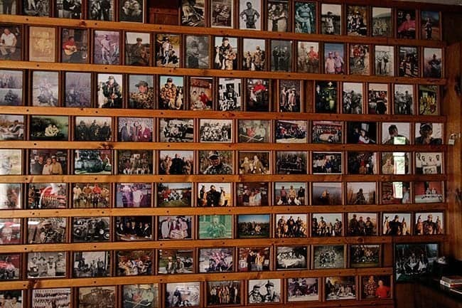 photos lining the walls at Jimmy Robinson's Duck Lodge