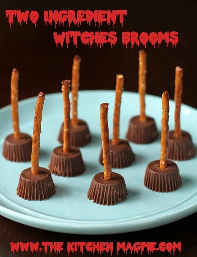 plate with Two Ingredient Witches Brooms - Reese's miniature Peanut Butter cups with pretzel stick inserted into the middle