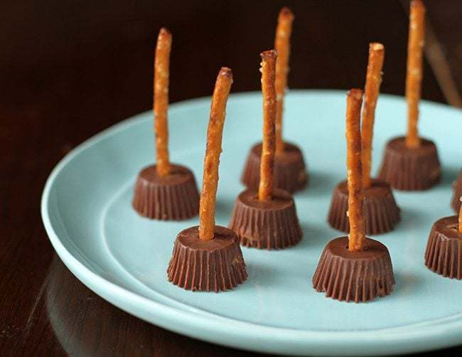 Two Ingredient Halloween Witches Brooms in a plate