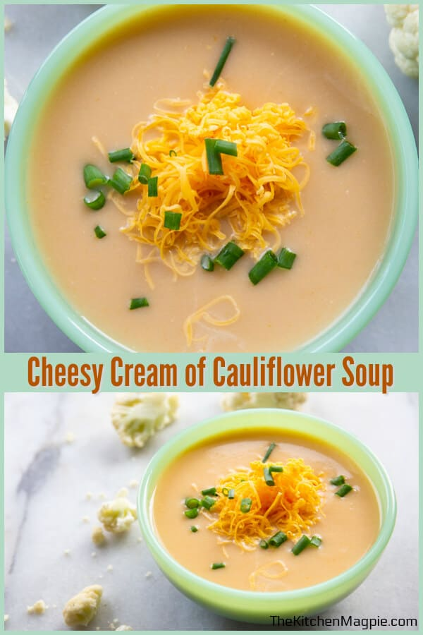 Decadent cheesy cream of cauliflower soup, sure to warm your belly on a chilly day! Make this low carb by leaving out the flour as a thickener. #cauliflower #soup #cheese #lowcarb #keto