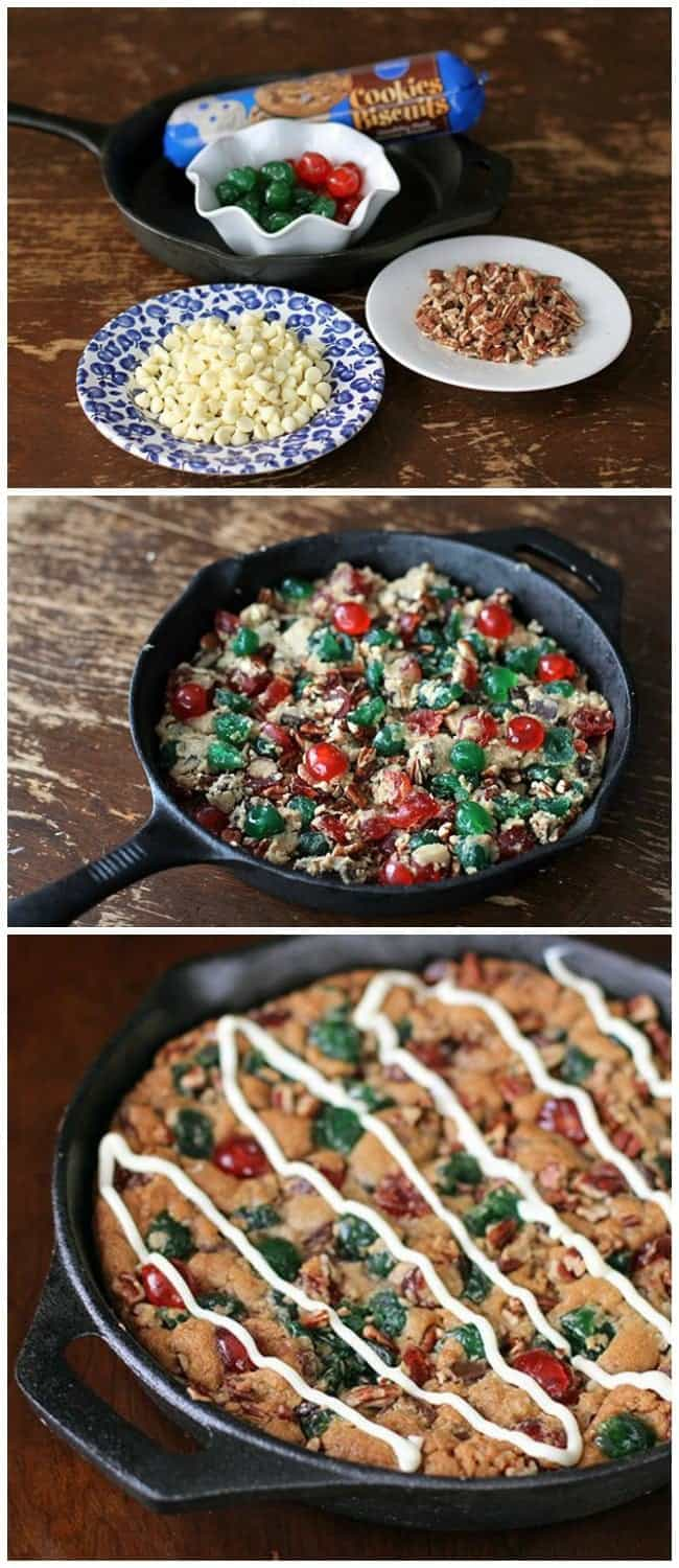 FOUR ingredient Christmas Fruitcake Chocolate Chip Skillet Cookie! Fast, easy and perfect for the busy holiday hostess!