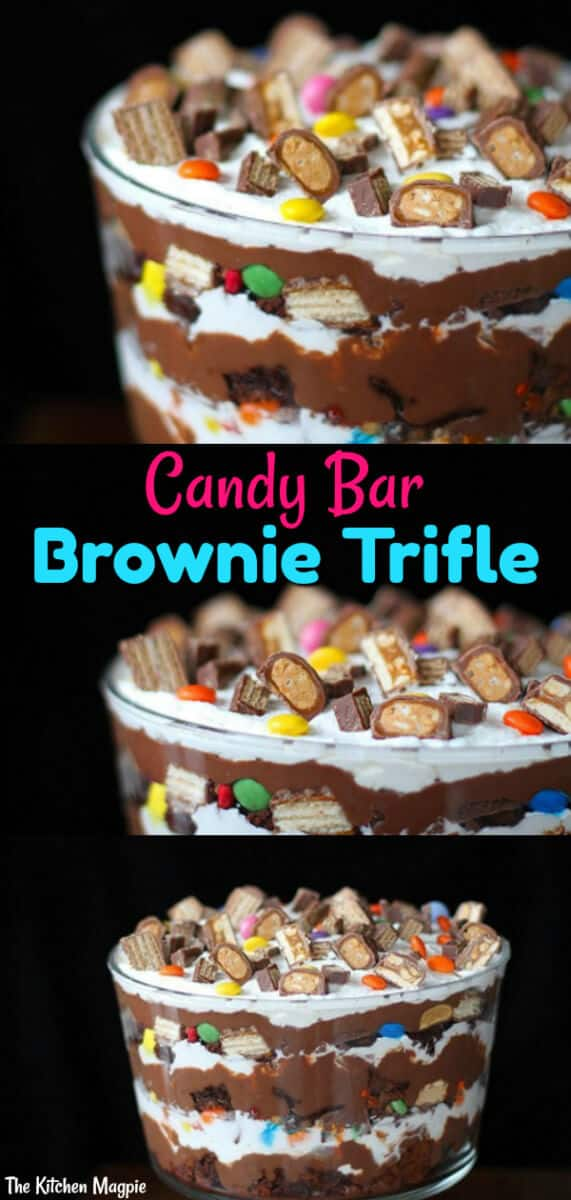 Decadent Candy Bar brownie trifle, one seriously delicious chocolate dessert! This is a great way to use up Halloween treats or a crazy decadent party trifle!