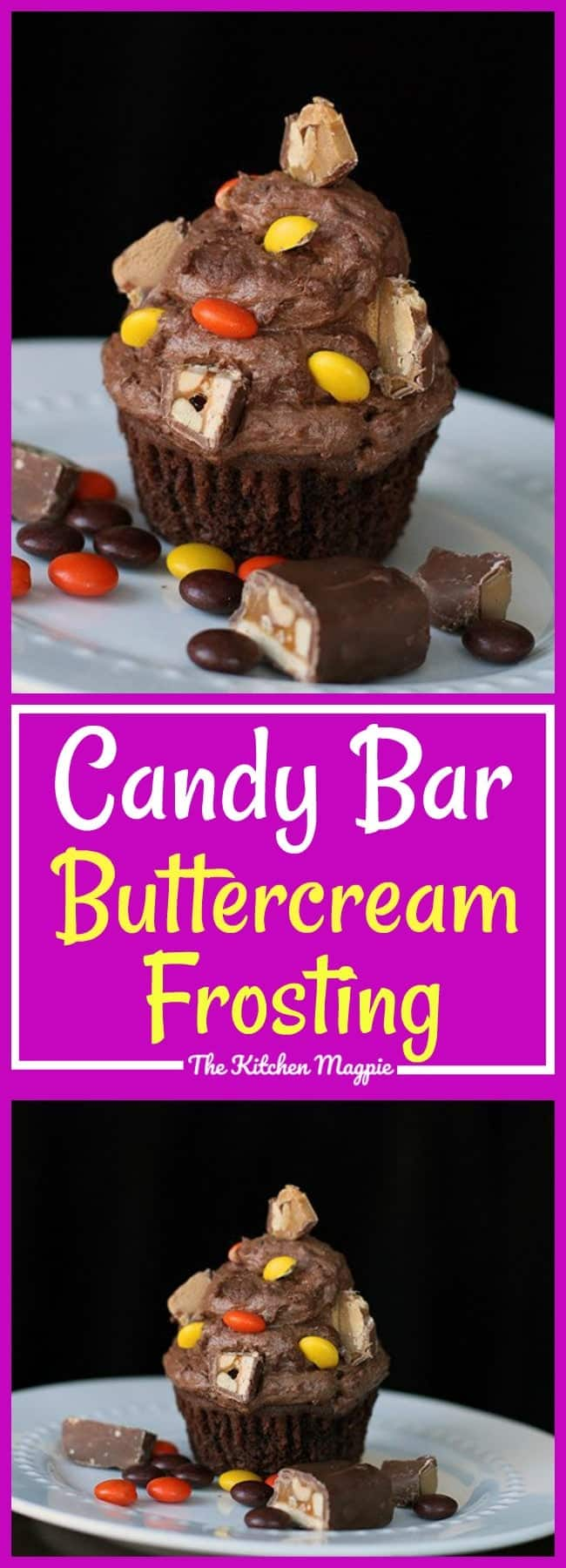 Candy Bar Buttercream Frosting. My chocolate buttercream frosting recipe with crushed candy bars, oh, what a perfect party icing this is!