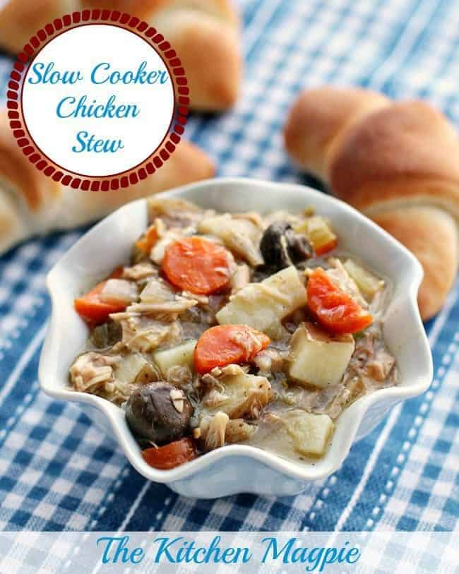 Delicious, hearty slow cooker chicken stew - perfect for when you need a heavier meal than chicken soup! #slowcooker #crockpot #recipe #chicken #chickenstew #stew #vegetables