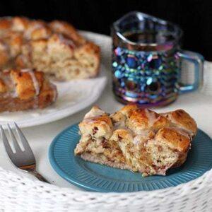 Sliced Cinnamon Bun Breakfast Bake in Plates