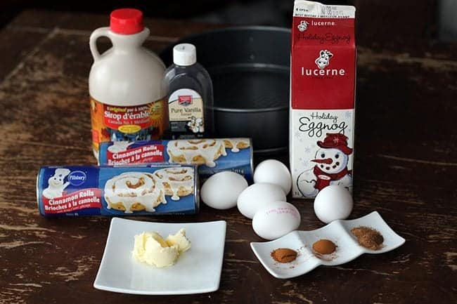 Ingredients in making Eggnog Cinnamon Bun Breakfast Bake