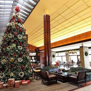 Tall Christmas tree at Fairmont Jasper Park Lodge