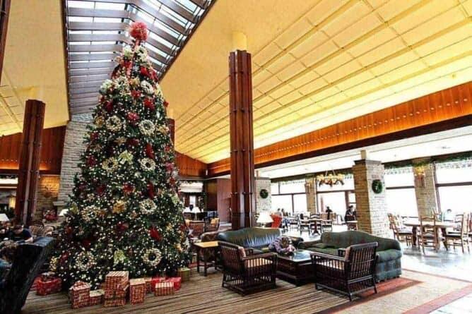 Tall Christmas tree at Fairmont Jasper Park Lodge