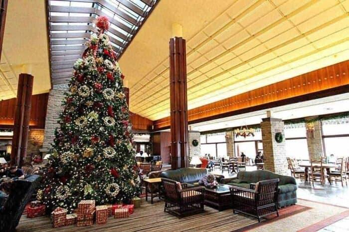 Tall Christmas tree at Fairmont Jasper Lodge