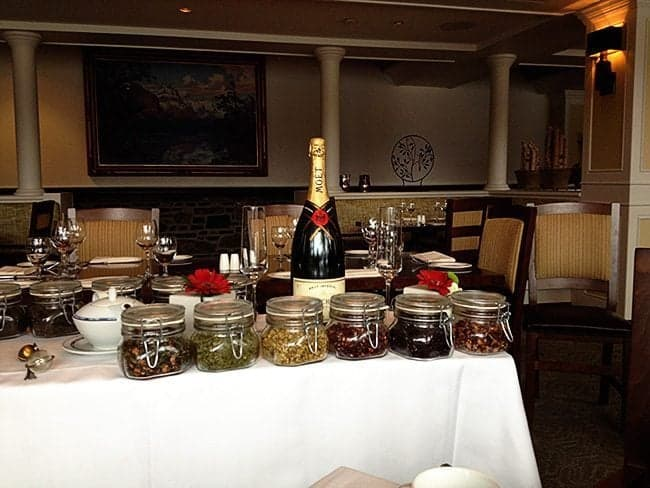 The tea cart at Fairmont Jasper Park Lodge prepped and ready to go