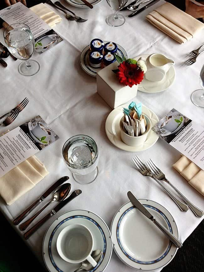 Top down shot of table setting at Fairmont Jasper Park Lodge