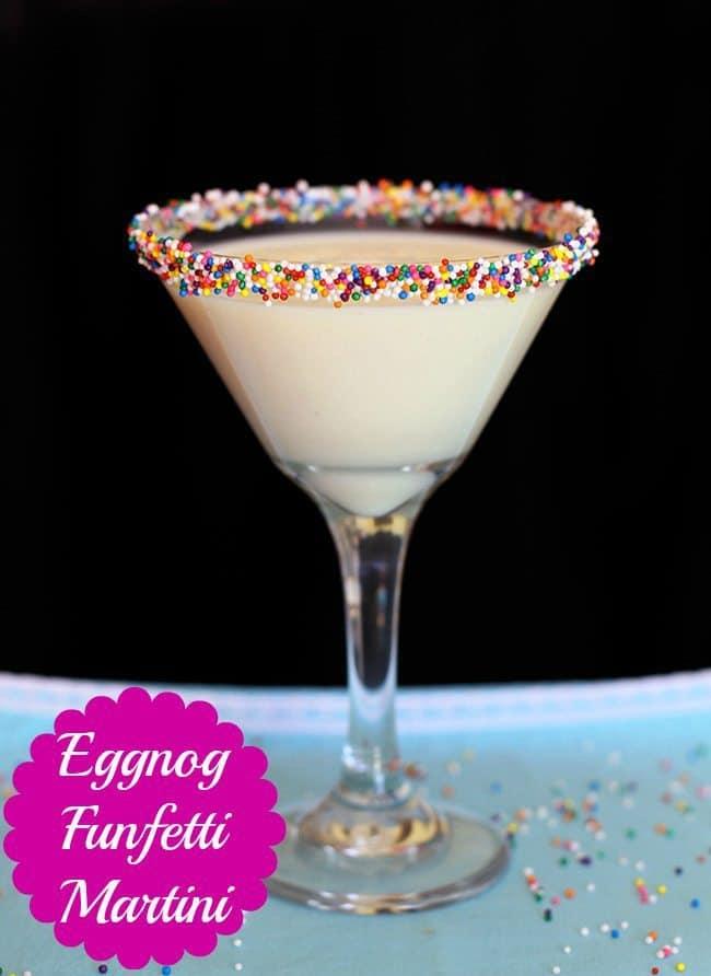 Delicious Funfetti Eggnog Martini recipe, perfect for the holiday season! #eggnog #martini #vodka