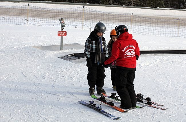 staff at Marmot assisting the kids in skiing