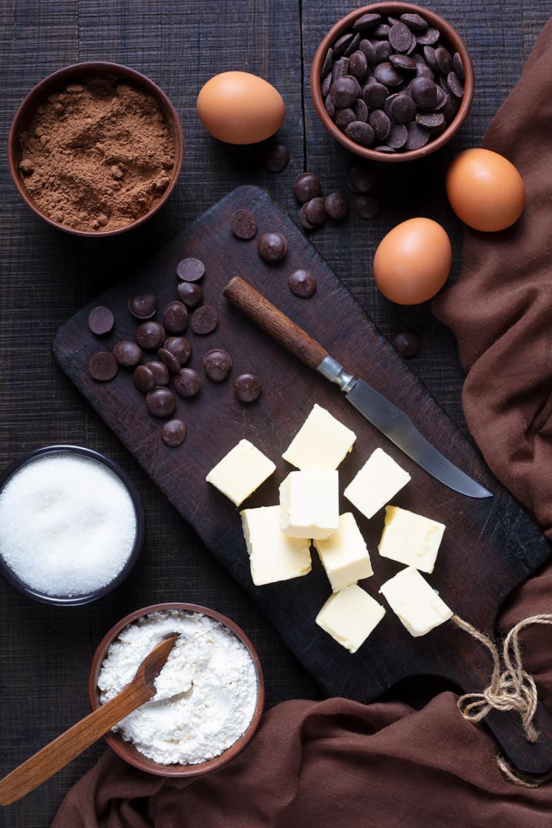 ingredients for Mint Brownies with Buttercream Icing