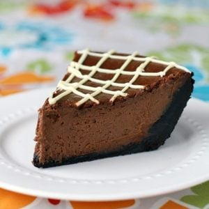 Chocolate Pumpkin Pie topped with white chocolate frosting