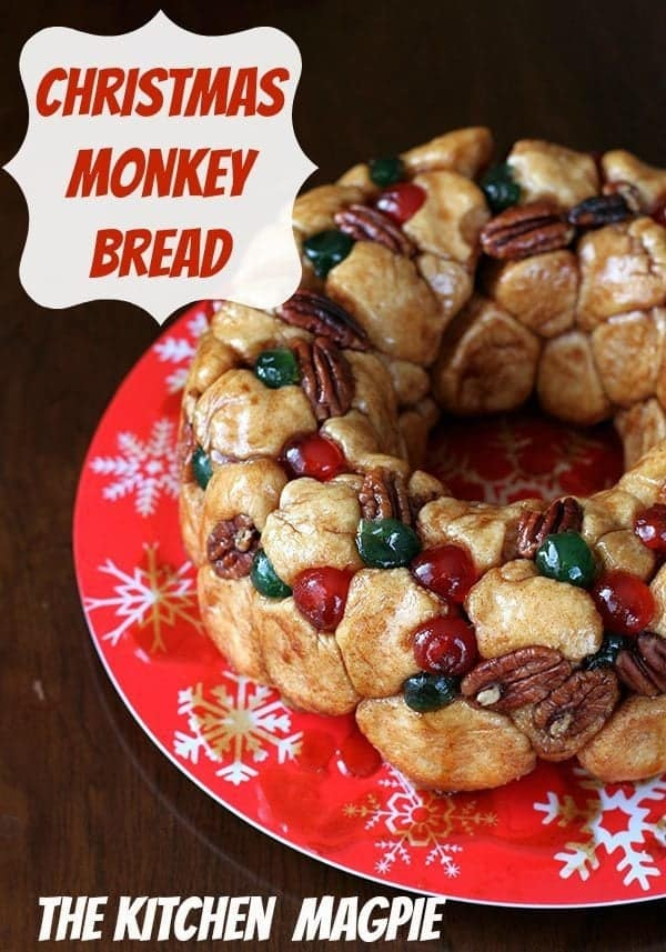Close up of Whole Christmas Monkey Bread in Red Christmas Plate