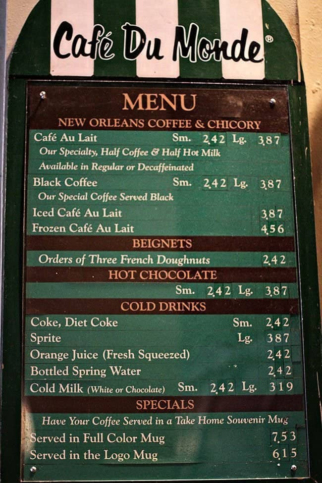 Cafe du Monde Menu Board