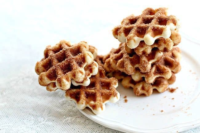 Mini Waffle Donuts topped with combined white sugar and cinnamon