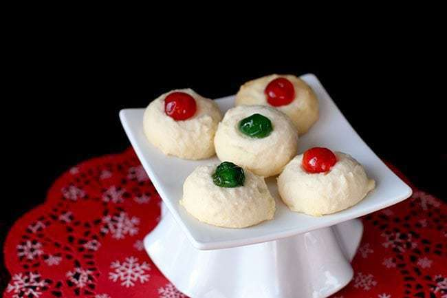 Whipped Shortbread with Christmas cherry on top