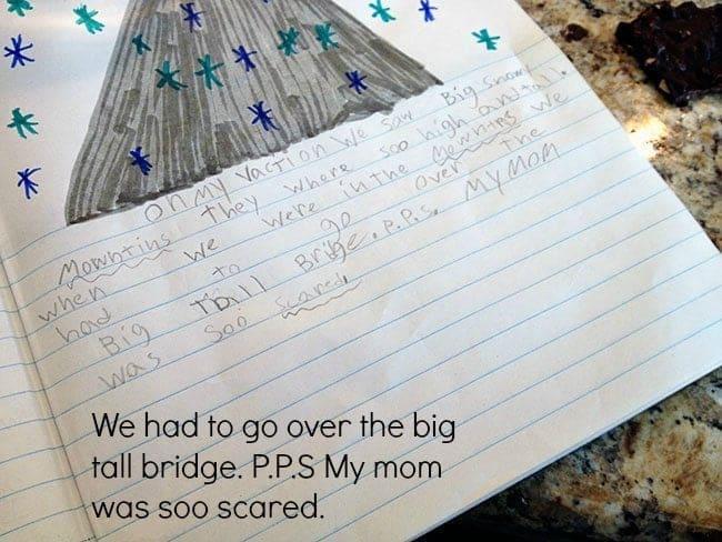 A kids journal written in a piece of paper