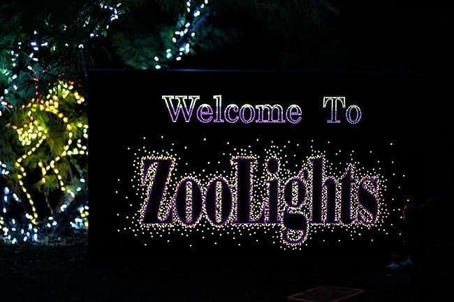 welcome signage at the Zoolights