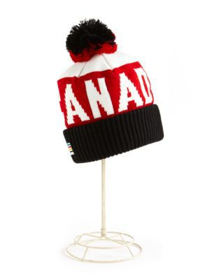 Red, black and white colored Team Canada Olympic beanie hat