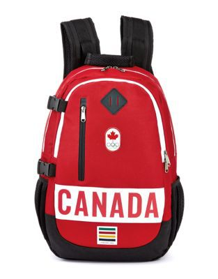 Red, black and white colored Team Canada Olympic Backpack