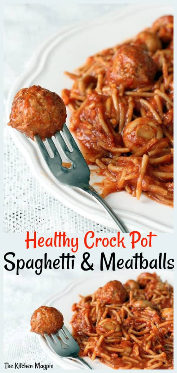 This Healthy Crock Pot Spaghetti and Meatballs is low fat and great tasting! Use your favourite pre-made meatballs for an easy dinner! #Crockpot #slowcooker #spaghetti #meatballs