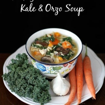"""""""Kick Your Cold's Butt"""" Kale & Chicken Orzo Soup"""