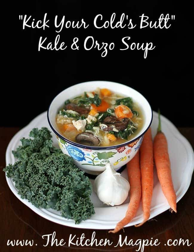Super food orzo soup with kale, chicken, garlic and more to chase away that winter cold or just give yourself a boost! #soup #chicken