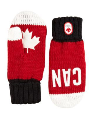 Red, black and white colored Team Canada Olympic knitted gloves