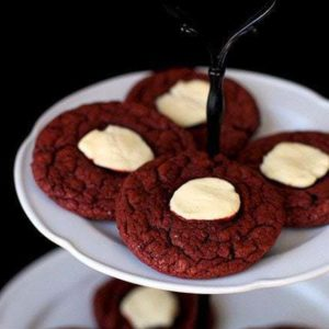 Red Velvet Cheesecake Cookies in white cake holder