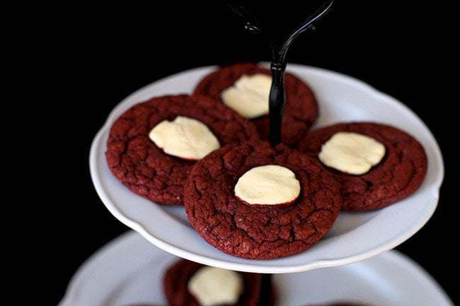 Red Velvet Cheesecake Cookies. from @kitchenmagpie