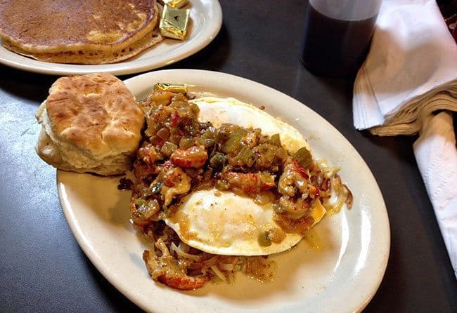 Creole Slammer at Slim Goodies Diner with sweet potato pancake on side