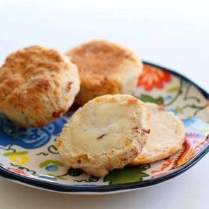 Bacon Cheddar Biscuits in a Colorful Plate