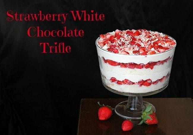 White Chocolate Strawberry Trifle on Dark Background