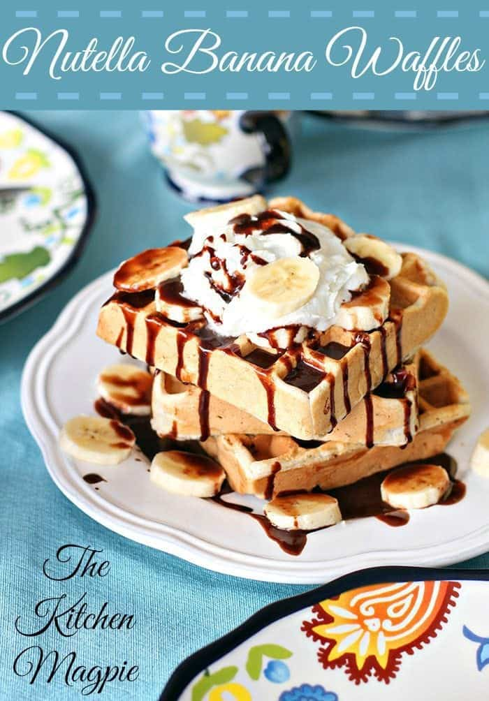 Nutella Banana Waffles in a White Plate