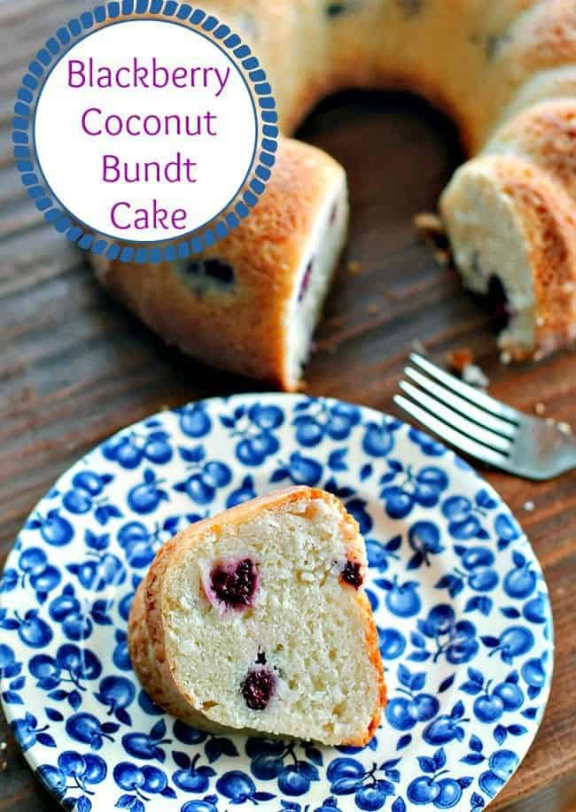 Delicious blackberry coconut bundt cake! This is a moist, decadent bundt cake with unique flavours. #bundt #cake #coconut #blackberry