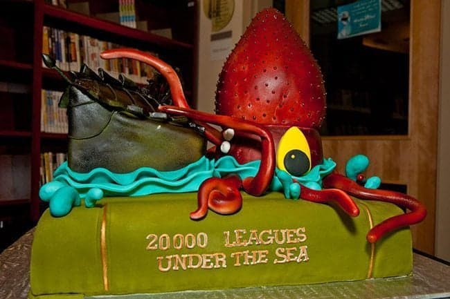 20000 leagues under the sea cake topped with red giant octopus like figure