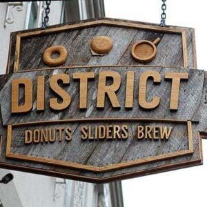 hanging district donut signage