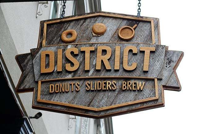 hanging district donut signage