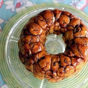 Babka Monkey Bread on a transparent serving plate
