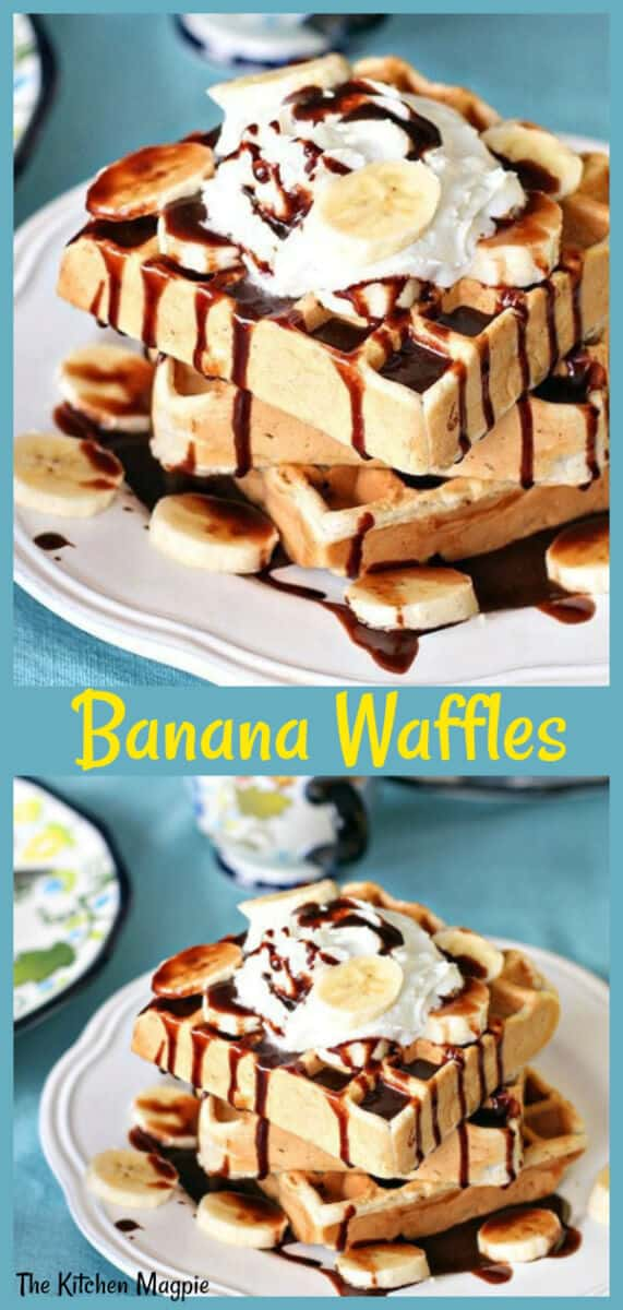Decadent Banana Waffles that are taken to the next level with Nutella! #banana #waffles #breakfast #nutella