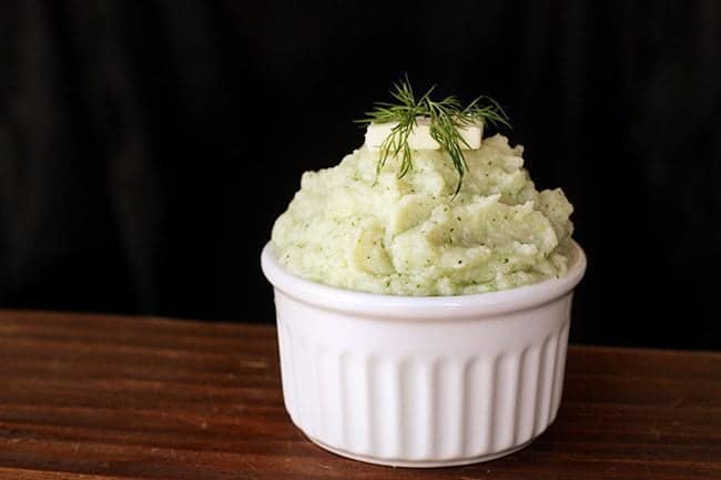 Butter & Dill Mashed Cauliflower in a white ramekins