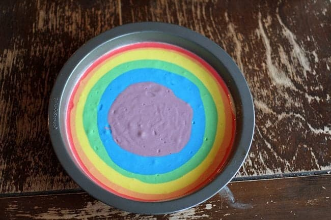 cake tin with rainbow color batter